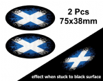 2pcs Fade To Black OVAL Design & Scottish Saltire St Andrews Flag Vinyl Car sticker decal 75x38mm